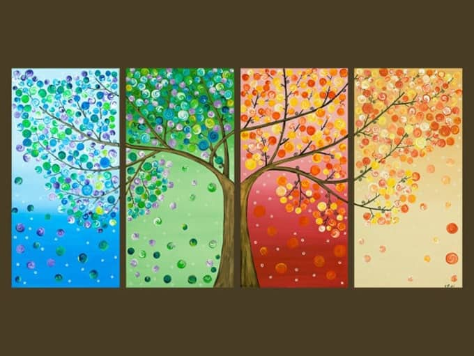 New This button tree wall art is made from four canvases paint and colorful buttons