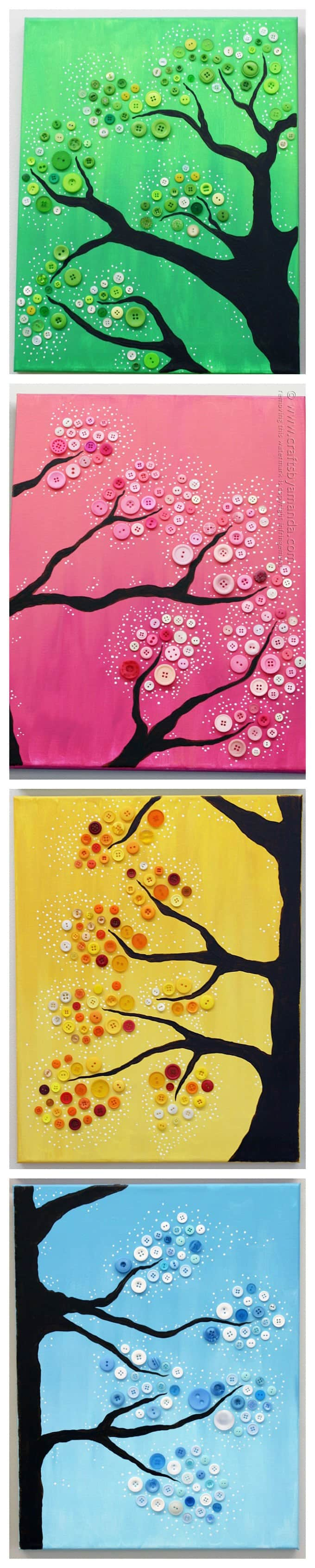 4 Seasons Button Tree Wall Art in vibrant colors