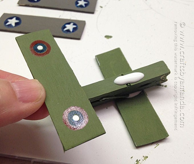 assembling the clothespin airplanes