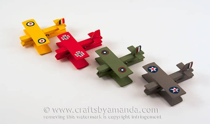 military airplanes made from clothespins
