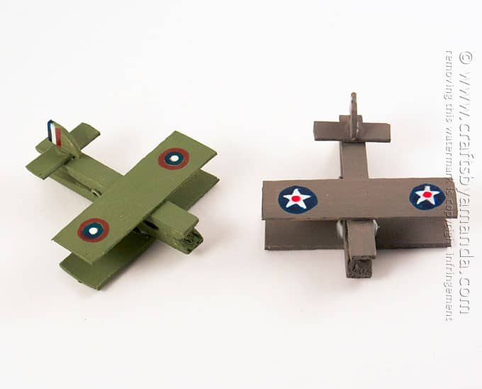 Military airplanes made out of clothespins