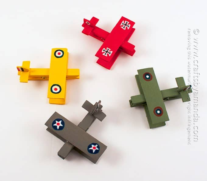 colorful military airplanes made out of clothespins