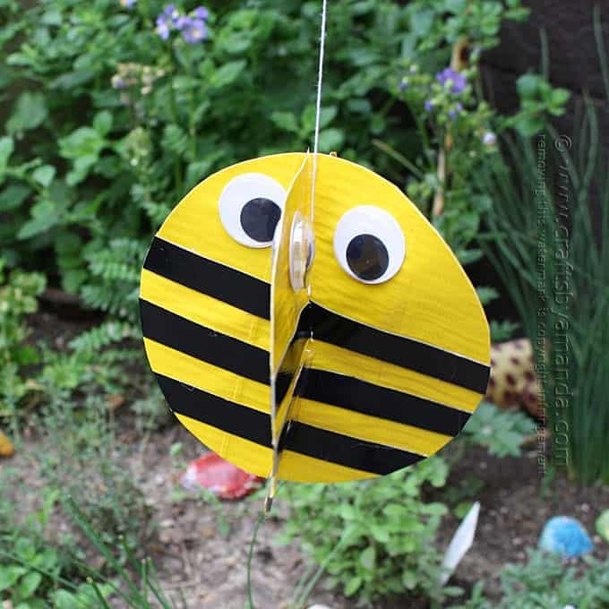Duct Tape Twirling Bee Craft hanging outside