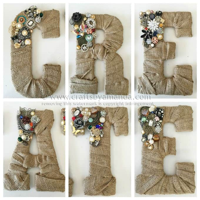 Vintage Jewel Burlap Wall Letters by Amanda Formaro, Crafts by Amanda