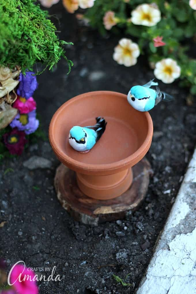 terra cotta pot bird bath