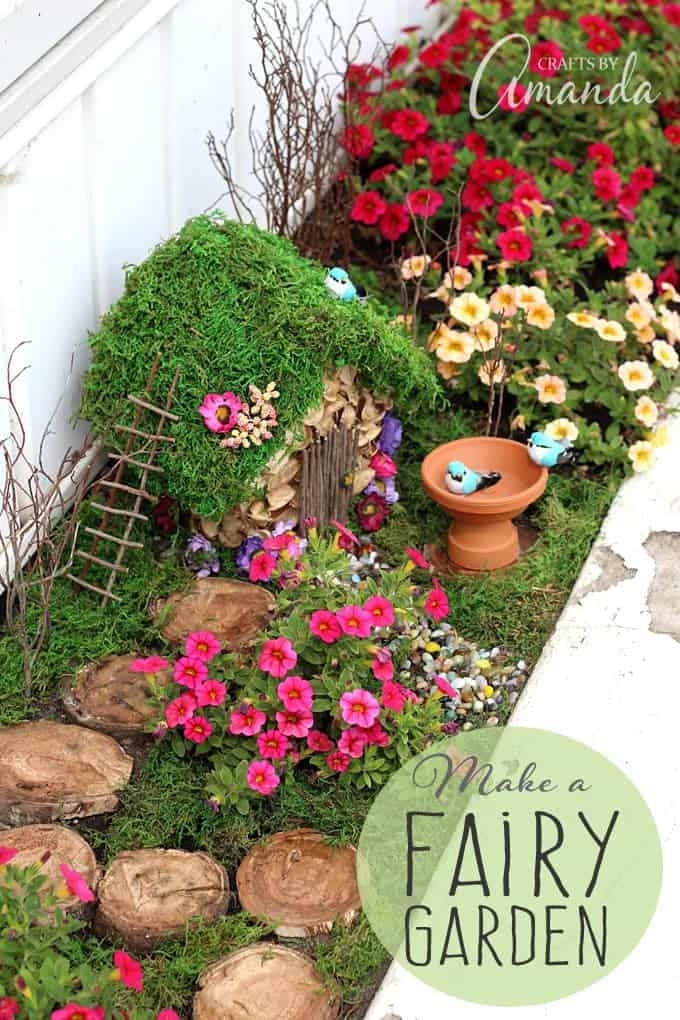 fairy garden in a flower bed