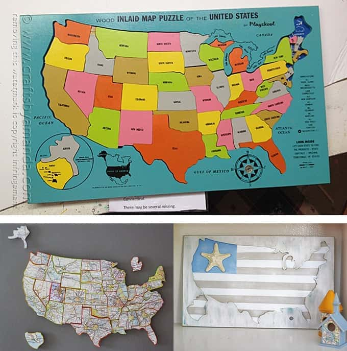 She takes one incomplete wood U.S. map puzzle and turns it into two projects perfect for your home! (Amanda Formaro, Crafts by Amanda)