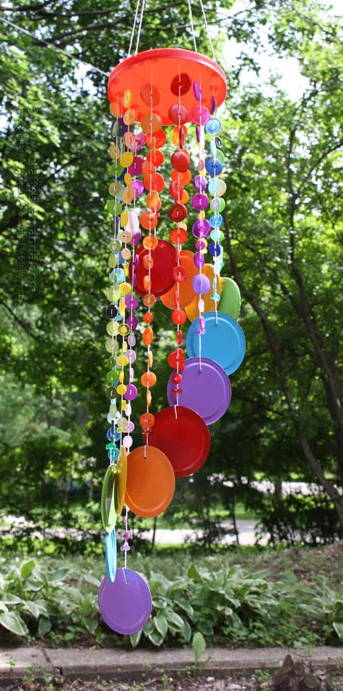 Rainbow Button Wind Chime hanging
