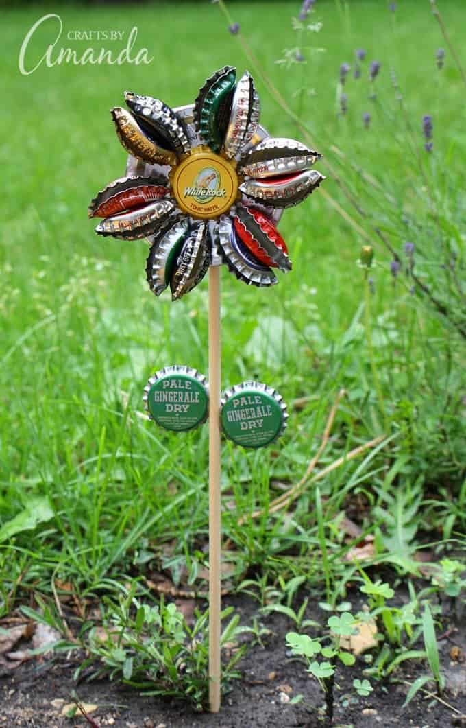 Rustic Bottle Cap Flower in garden