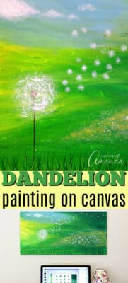 dandelion painting on canvas pin image