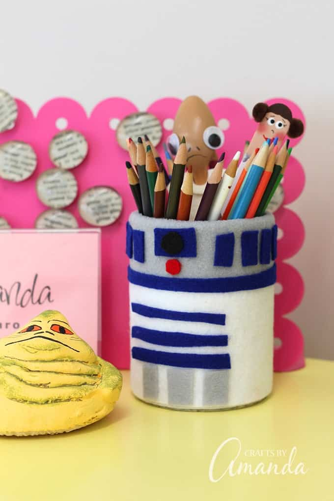 r2d2 pencil holder made from a tin can
