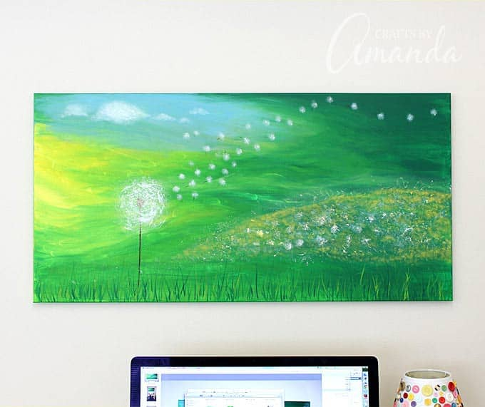 Dandelion Painting on Canvas