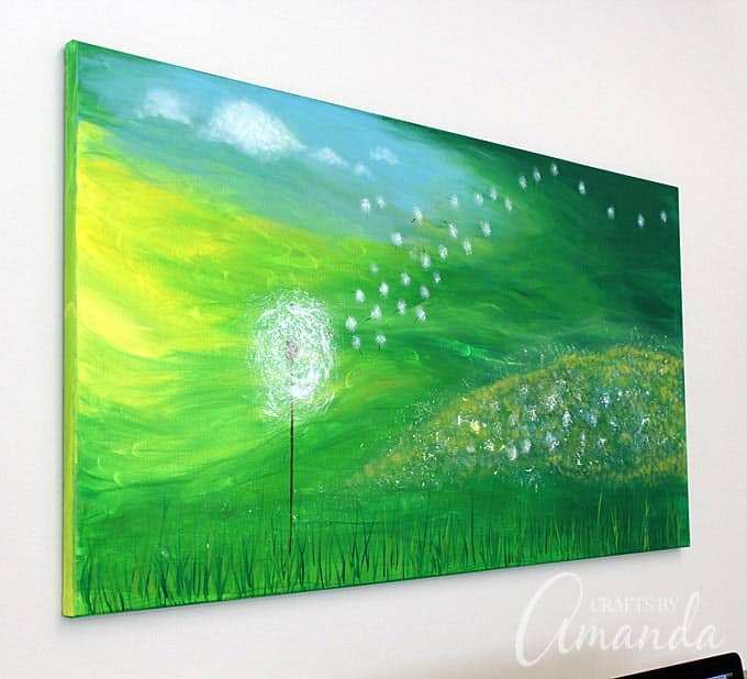 Dandelion Painting on Canvas by Amanda Formaro, Crafts by Amanda