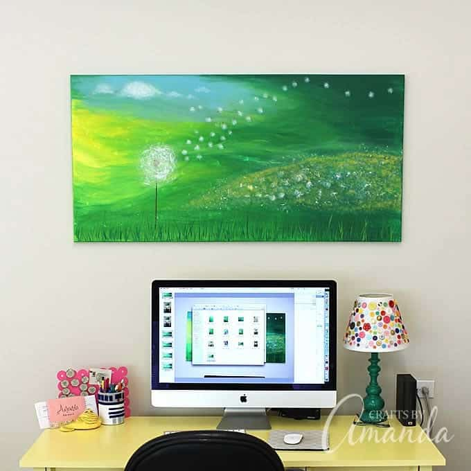 Dandelion Painting above computer desk