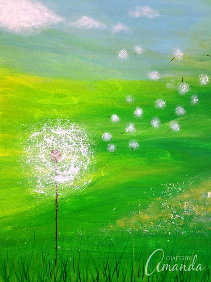 Dandelion Painting On Canvas Crafts By Amanda