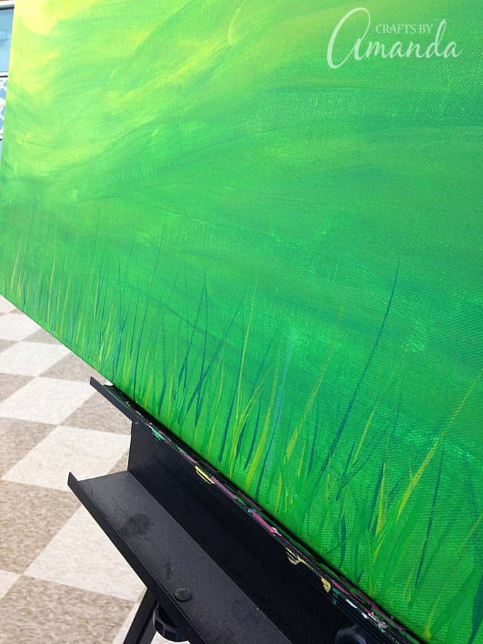 grass painted on canvas