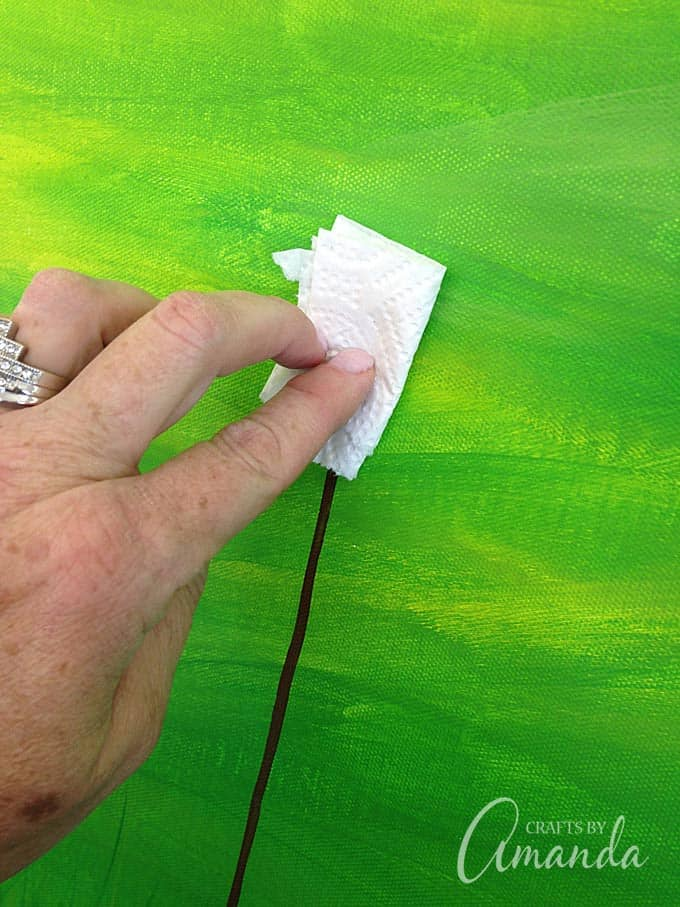 blotting off paint