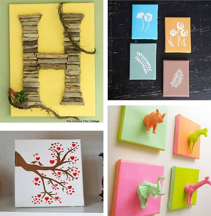 Diy canvas wall art ideas 30 canvas tutorials for Diy wall decor projects