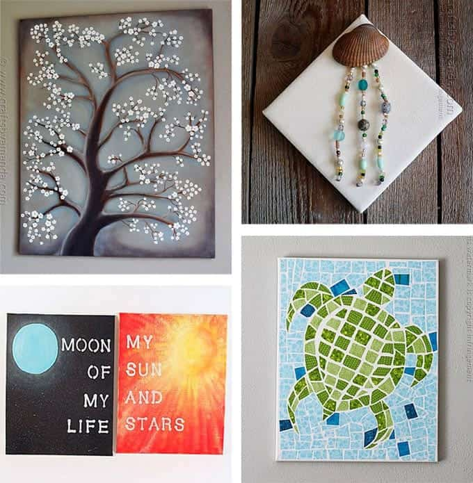 Diy canvas wall art ideas 30 canvas tutorials Diy canvas painting designs