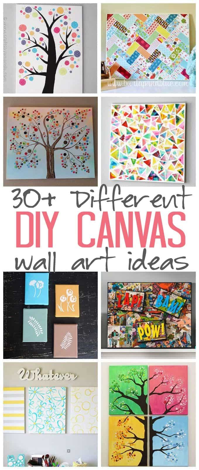 Diy canvas wall art ideas 30 canvas tutorials for Pinterest art ideas for adults