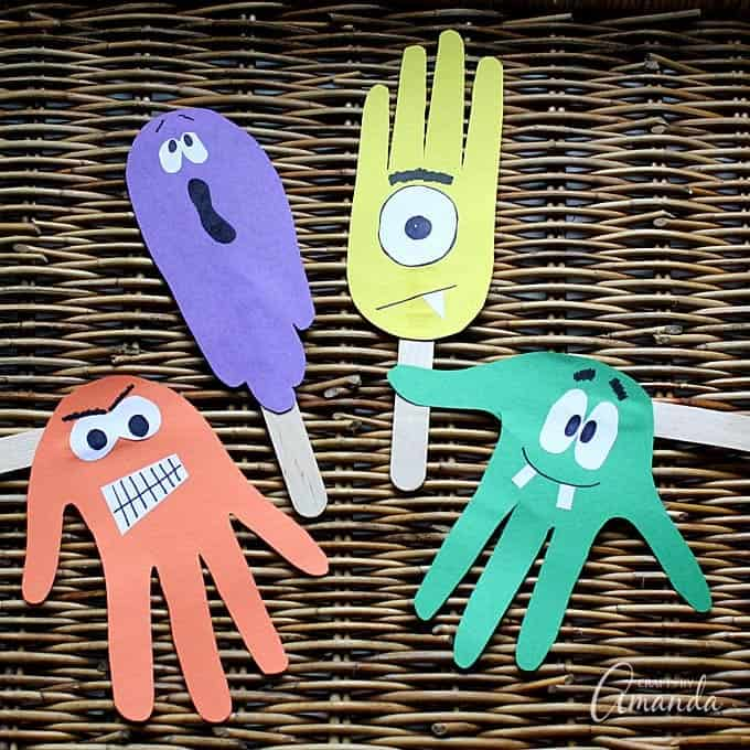 Handprint Puppets For Halloween Ghoulish Fun For Kids