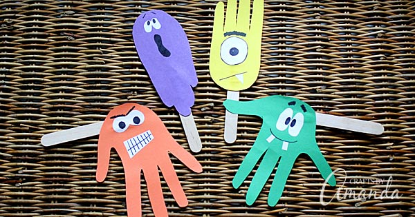 Handprint Puppets for Halloween: Ghoulish fun for kids