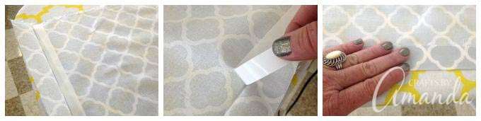 use fabric tape to create flap