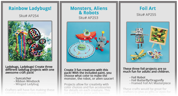 Crafts by Amanda craft kits: ladybug crafts, alien, monster and robot crafts, foil crafts