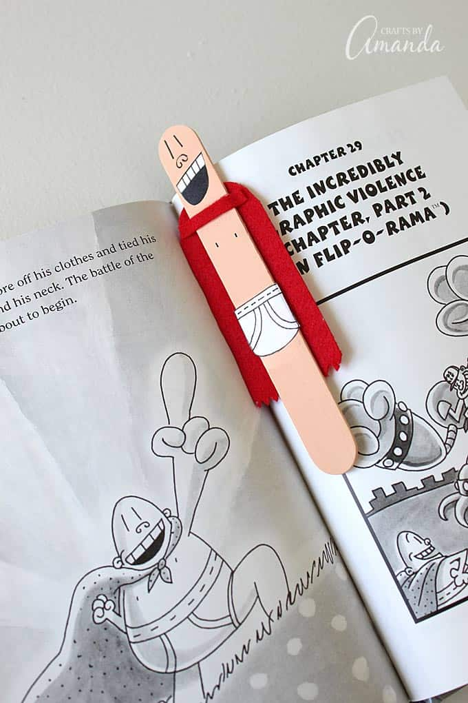 Captain Underpants Craft Stick Bookmark, by Amanda Formaro of Crafts by Amanda