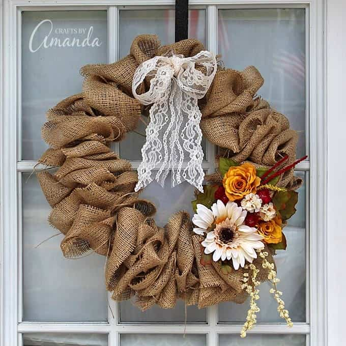 burlap wreath hanging on door