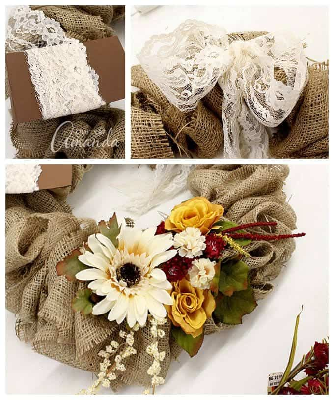 adding lace to burlap wreath