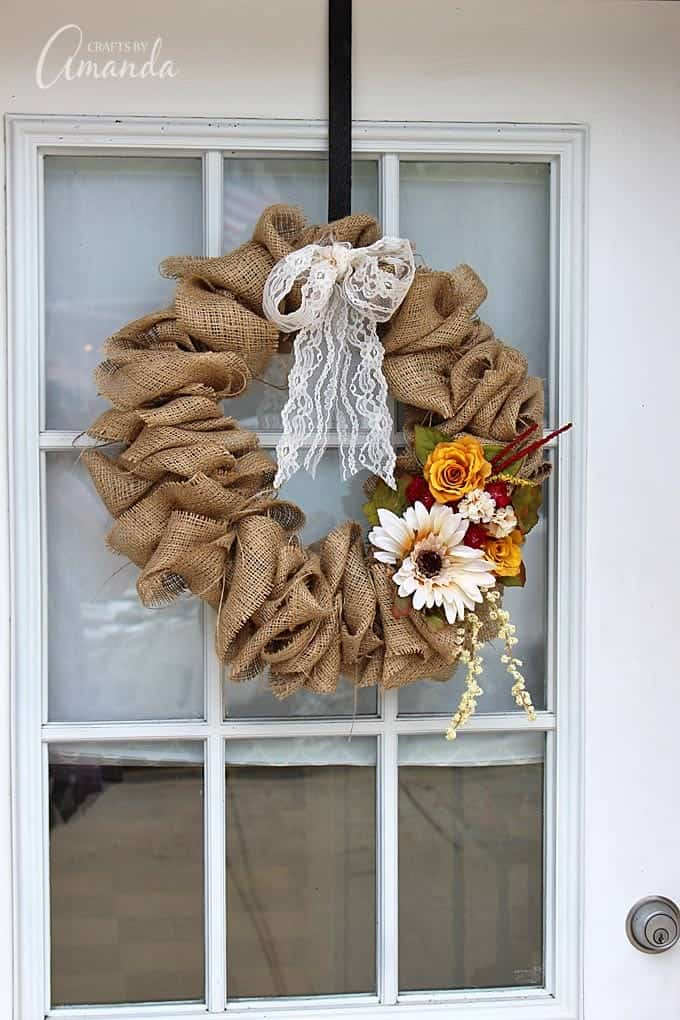hanging burlap wreath