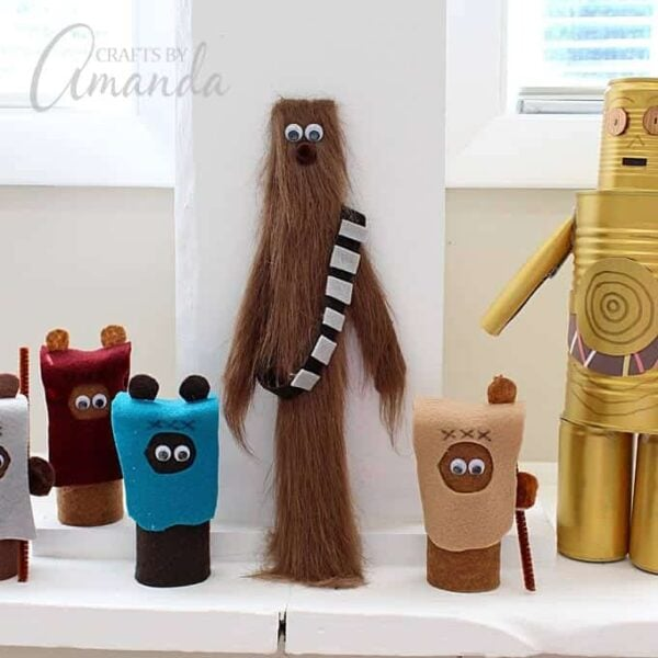 Chewbacca Craft from a Paint Stir Stick