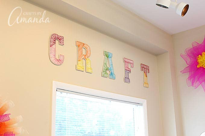 wall letters decorated with colorful string