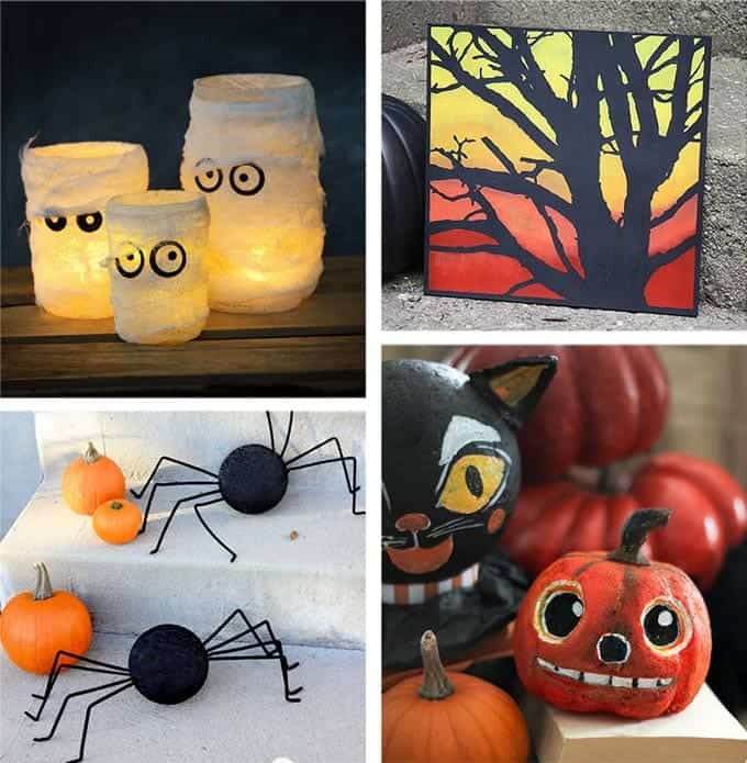 DIY Halloween decorations including Mummy Mason Jars, Spider Pumpkins, Silhouette Tree Painting