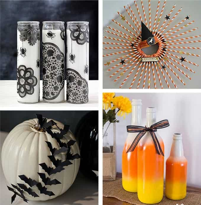 DIY Halloween Decorations including Halloween Candles, Halloween Wreath, Halloween Bat Pumpkin and Candy Corn Wine Bottles