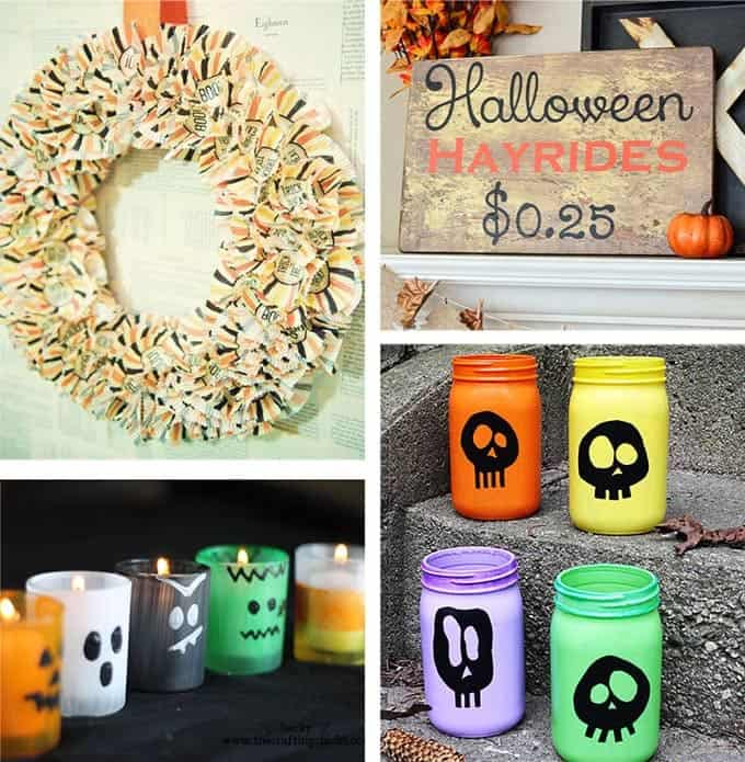 diy halloween decorations including halloween luminaries and cupcake wreath