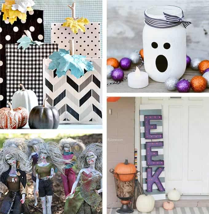 DIY Halloween decorations including Barbie Zombies, EEK Sign, Ghost Mason Jars and cute Patterned Pumpkins for Halloween