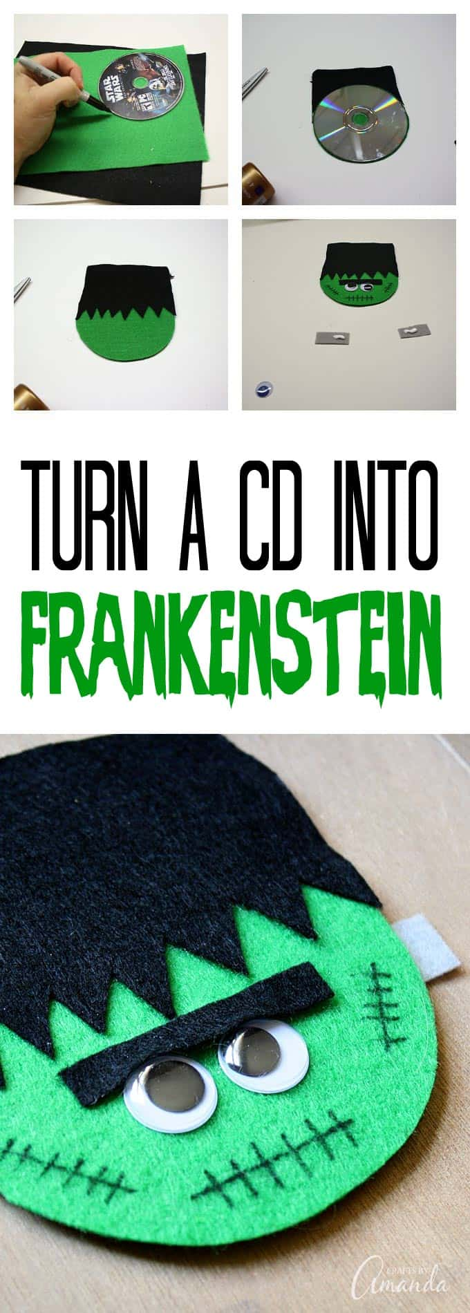 Recycle an old disc into some Halloween fun with this CD Frankenstein craft! This would make the perfect make & take for a Halloween party! All you need is an old CD, googly eyes, a marker and some felt (or construction paper)!