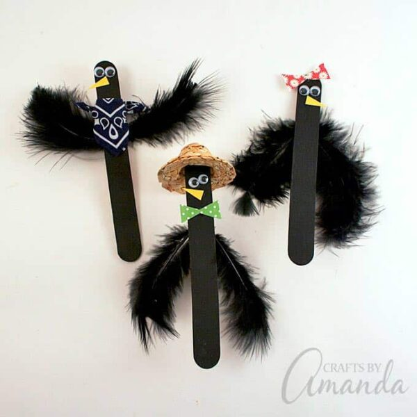 Popsicle Stick Crows