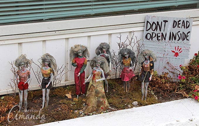 """How to make a walking dead door that says """"Don't Open, Dead Inside"""" as a Halloween prop. The perfect companion to my Barbie Zombies!"""