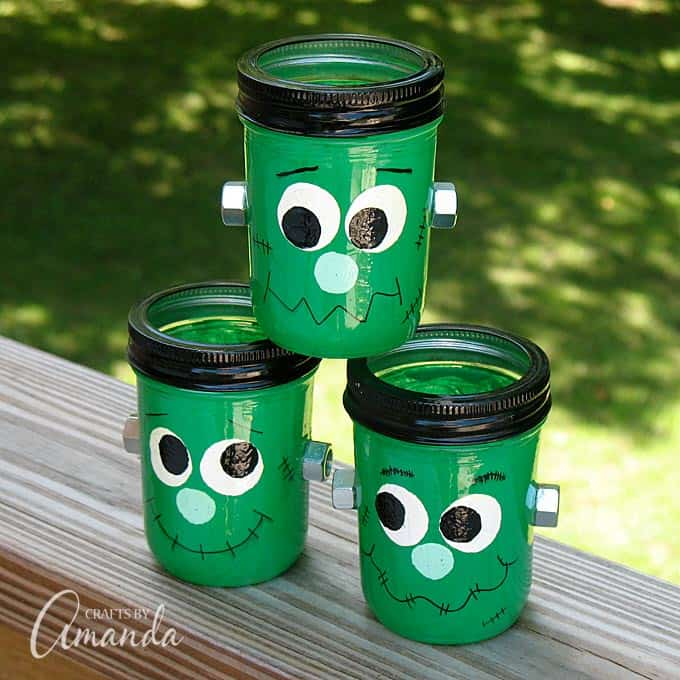 Mason jars become Frankenstein luminaries with this fun Halloween craft project!