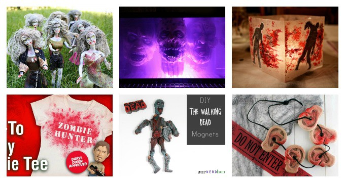 Walking Dead Crafts - zombie barbies, zombie magnets, bloody lanterns, daryl's ear necklace cookies, governor's fish tank of heads, zombie hunter shirt