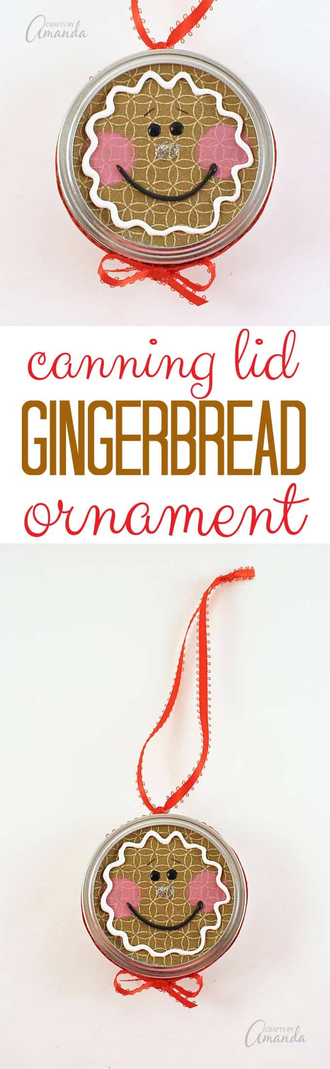 Gingerbread man ornament craft - Turn A Canning Jar Lid Into A Sweet Gingerbread Man With This Canning Lid Ornament Project