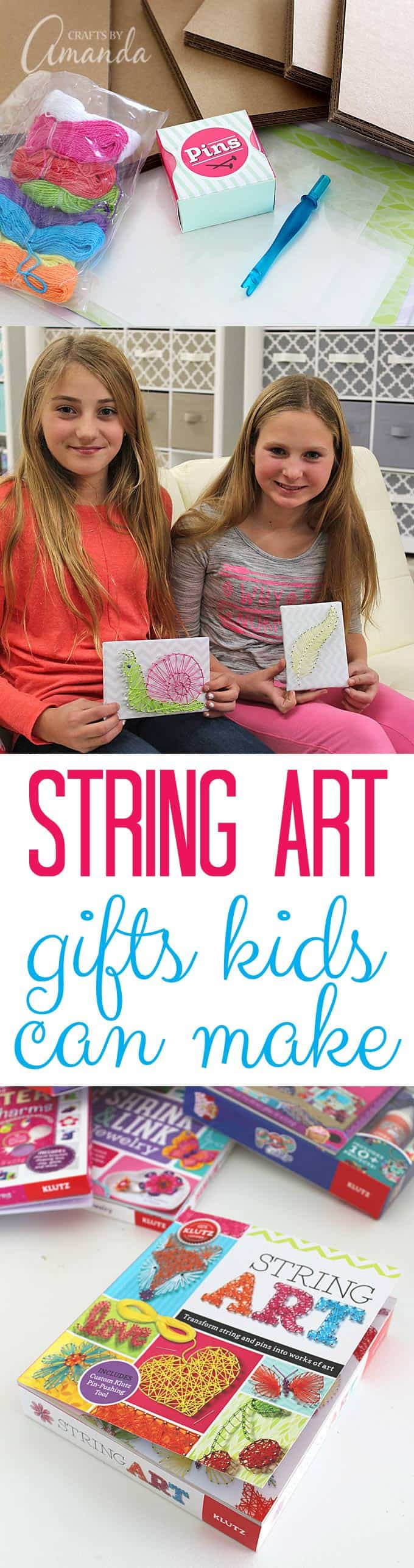 String Art: Gifts Kids Can Make - use these awesome activity kits from Klutz Books to create oodles of fun gifts to give this Christmas! #KLUTZhandmade #ad