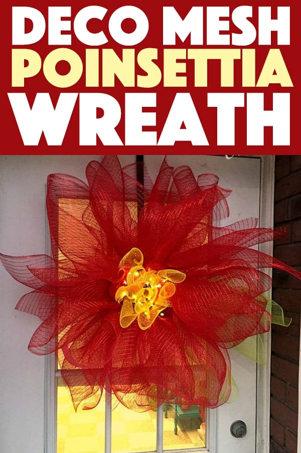 Deco Mesh Poinsettia Wreath