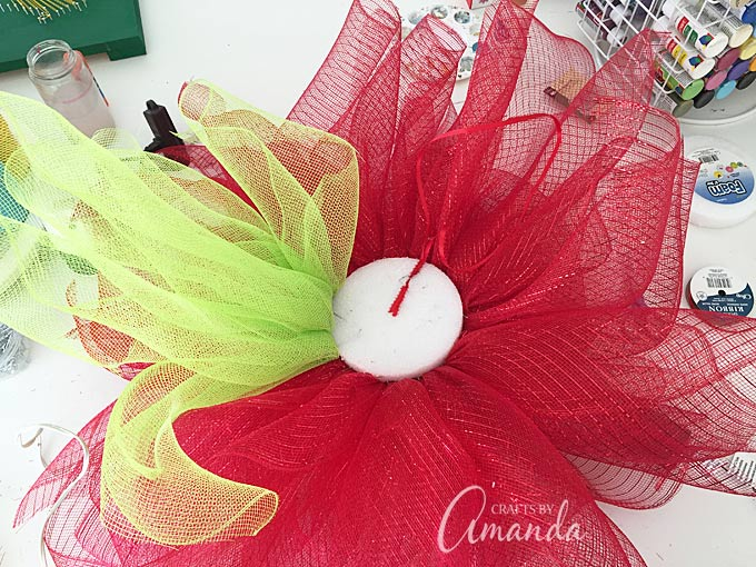 Deco mesh poinsettia wreath for winter
