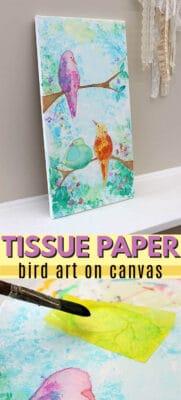 bleeding tissue paper birds pin image