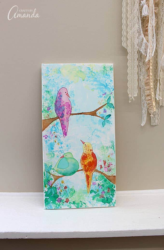 Bleeding Tissue Paper Birds on Canvas