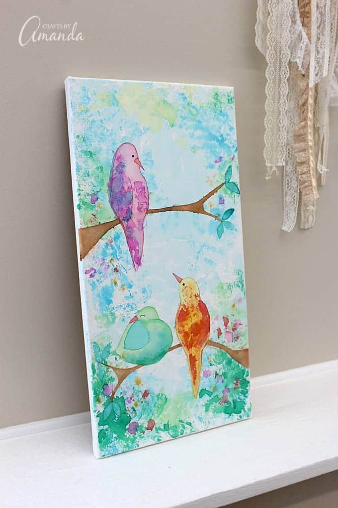 bird canvas with bleeding tissue paper